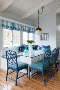 blue turquoise breakfast nook